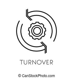 Turnover isolated icon, productivity and cogwheel linear ...