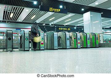 Turnstiles in the subway