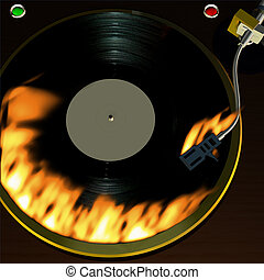 3D rendered Record player with vinyl album on fire. 3D rendered Record player with vinyl album.