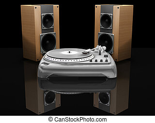 Turntable and speakers - 3D render of a turntable and...
