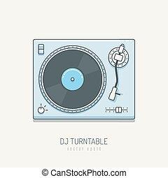 Turntable - Dj turntable vector illustration in line art...