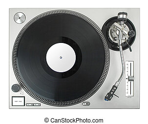 turntable - dj's vinyl player isolated on white background