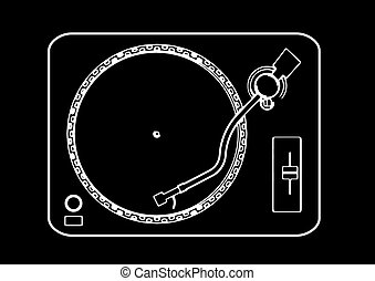 turntable - black and White illustration of a turntable from...