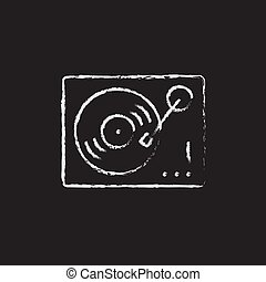 Turntable icon drawn in chalk. - Turntable hand drawn in ...