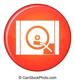 Turntable icon, flat style