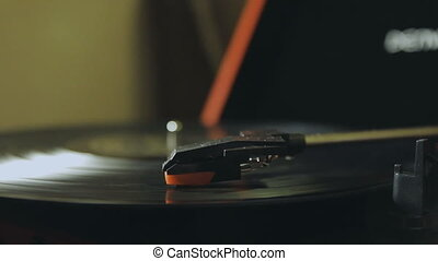 Turntable playing, player needle 1080p