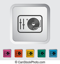 Turntable. Single flat icon on the button. Vector...