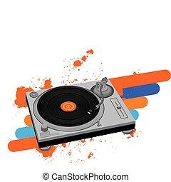 Turntable - Vector illustration of DJ turntable.