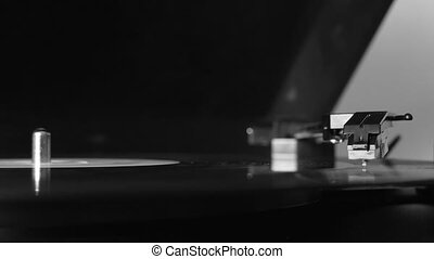 Turntable vinyl record player, man puts a vinyl record and includes a gramophone, High quality 4k footage