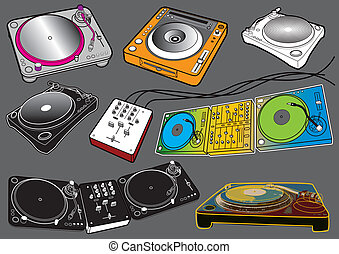 Turntables - Turntable vector set, image is part of my music...