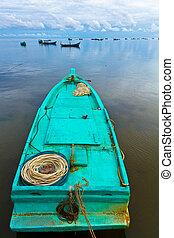 Turqoise fisher boat in Ham Ninh, Phu Quoc, Vietnam