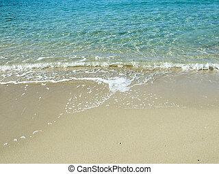 turquesa, agua, en, playa tropical