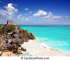 turquesa, antiguo, caribe, maya, ruinas de tulum