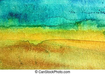 turquesa, aquarela, amarela