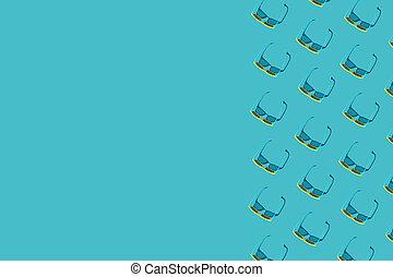 turquesa azul, gafas de sol, patrón, espacio de copia, plano...