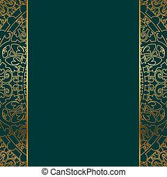 turquesa, &, borda, ouro, ornate