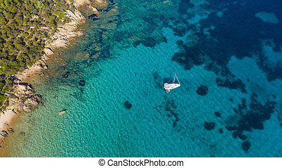 turquesa, bote, vista aérea, praia, mar