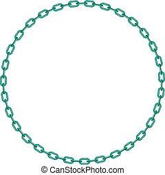 turquesa, círculo, forma, cadena