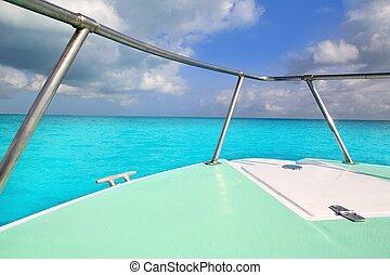 turquesa, caribe, arco, verde, mar, barco