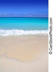 turquesa, caribe, arena, orilla, mar, playa blanca