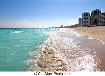 turquesa, caribe, cancun, orilla, mar, playa