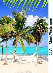 turquesa, caribe, hamaca, mar, columpio, playa