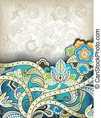 turquesa, floral