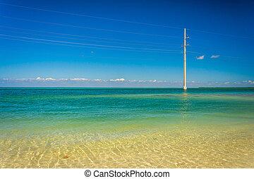 turquesa, golfo, potencia, méxico, fro, aguas, líneas, ...