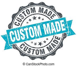 turquesa, hecho, vendimia, aislado, costumbre, sello, blanco