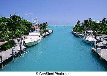 turquesa, llaves, florida, barcos pesqueros, canal