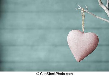 turquesa, madera, tablón, árbol, corazón, fondo blanco, rosa