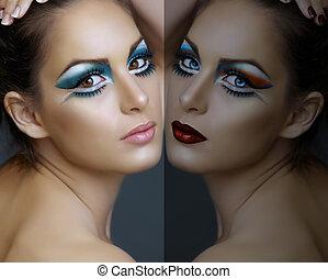 turquesa, mujer, make-up.