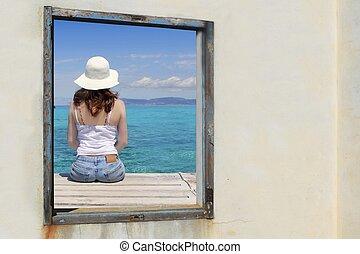 turquesa, mulher, turista, tropicais, janela, vista mar
