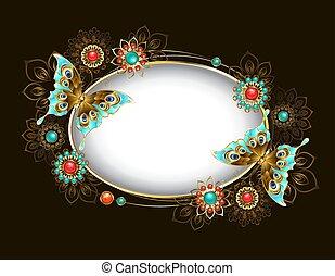 turquesa, oval, bandeira, borboletas