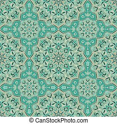 turquesa, pattern., florido