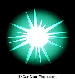 turquesa, rayos, estrella, espacio, aislado, negro, blanco, cosmos
