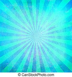 turquesa, sunburst, em branco, fundo