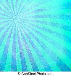 turquesa, sunburst, fundo, em branco