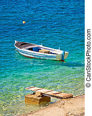turquesa, viejo, de madera, pescadores, playa, barco