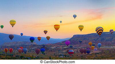 turquie, air, chaud, coucher soleil, ballons, cappadocia