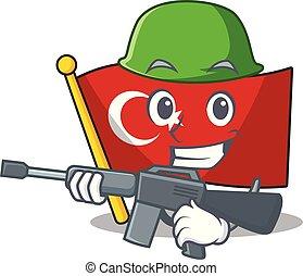 turquie, armée, formé, caractère, drapeau, dessin animé