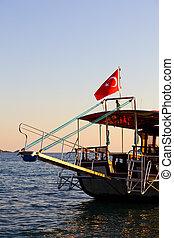 turquie, bateau, coucher soleil, croisière