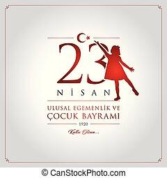 turquie, bayrami, illustration., nisan, 23, national, (23, ...