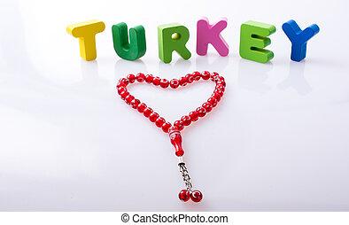 turquie, blocs, mot écrit, lettre