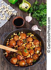 turquie, boulettes viande, au-dessus, vertical, vue