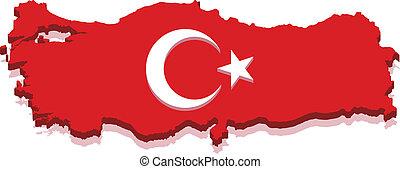 turquie, carte, à, drapeau turc, 3d