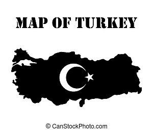 turquie, carte, noir, couleur