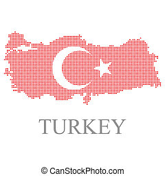 turquie, carte pixel, et, drapeau