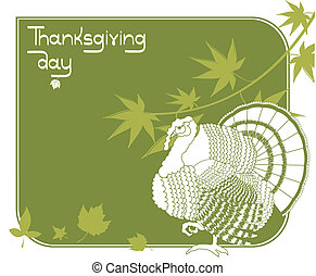 turquie, carte postale, .vector, thanksgiving, fond