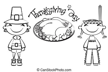 turquie, carte postale, .vector, thanksgiving, fond